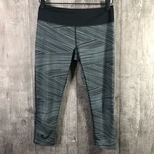 Under Armour Gray Striped Cropped Leggings XS